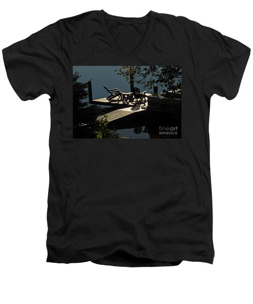 Early Morning At The Lake Men's V-Neck T-Shirt by Cindy Manero