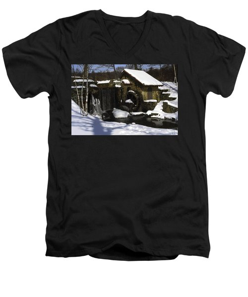 Eastern University Waterwheel Historic Place Men's V-Neck T-Shirt by Sally Weigand