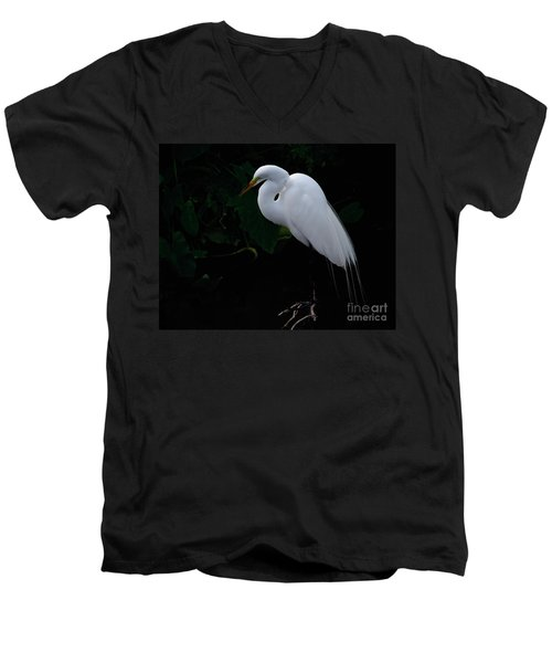 Egret On A Branch Men's V-Neck T-Shirt