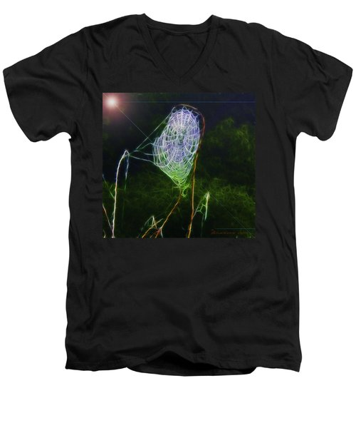 Men's V-Neck T-Shirt featuring the photograph Electric Web In The Fog by EricaMaxine  Price