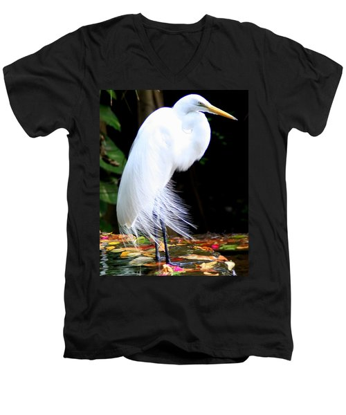 Elegant Egret At Water's Edge Men's V-Neck T-Shirt