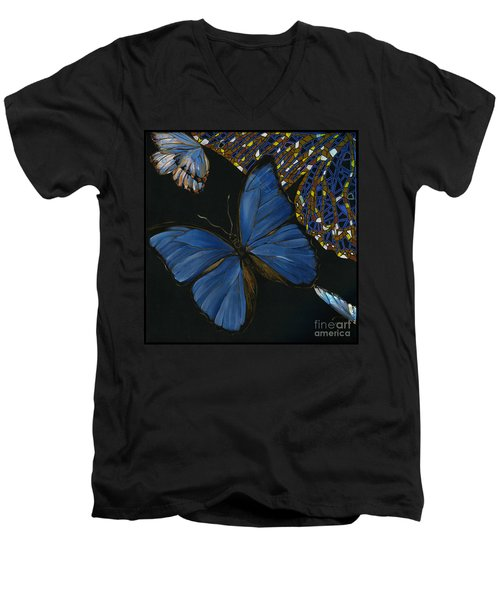 Men's V-Neck T-Shirt featuring the painting Elena Yakubovich - Butterfly 2x2 Lower Left Corner by Elena Yakubovich