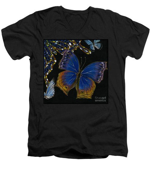 Men's V-Neck T-Shirt featuring the painting Elena Yakubovich - Butterfly 2x2 Lower Right Corner by Elena Yakubovich