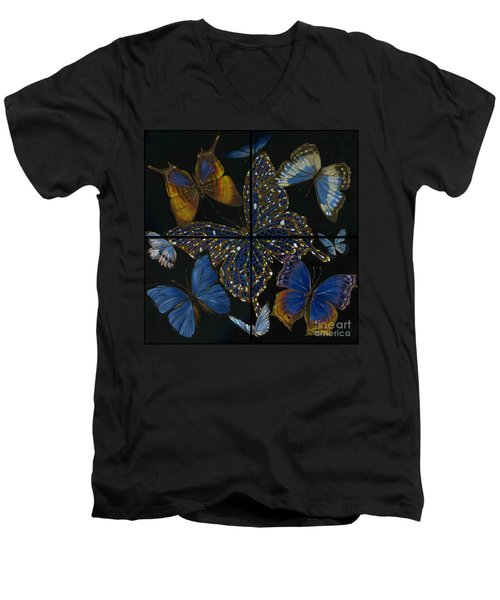 Men's V-Neck T-Shirt featuring the painting Elena Yakubovich Butterfly 2x2 by Elena Yakubovich