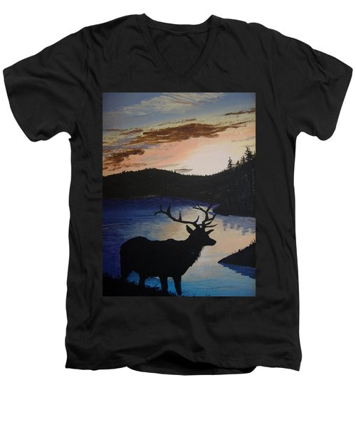 Men's V-Neck T-Shirt featuring the painting Elk At Sunset by Norm Starks