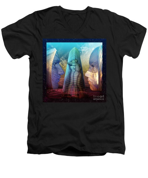 Men's V-Neck T-Shirt featuring the digital art Embrace Tower by Rosa Cobos