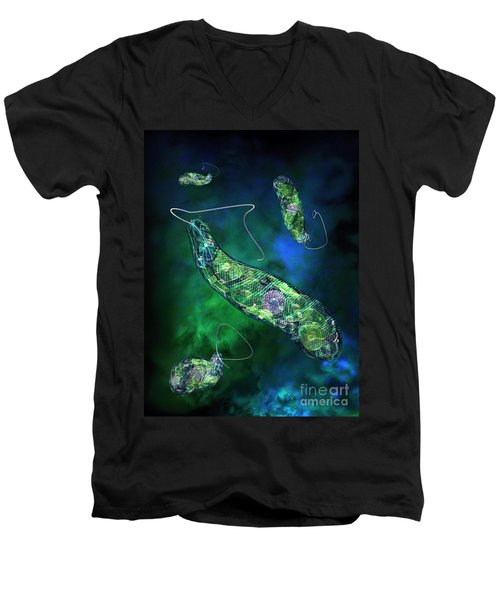 Men's V-Neck T-Shirt featuring the digital art Euglena Blue by Russell Kightley