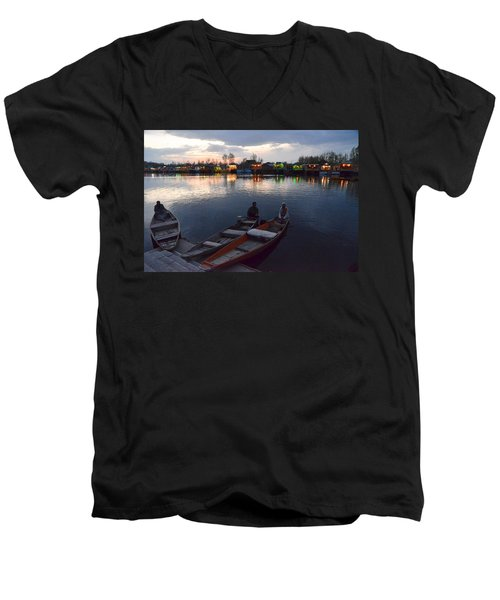 Evening On Dal Lake Men's V-Neck T-Shirt by Fotosas Photography