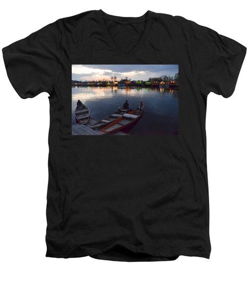 Evening On Dal Lake Men's V-Neck T-Shirt
