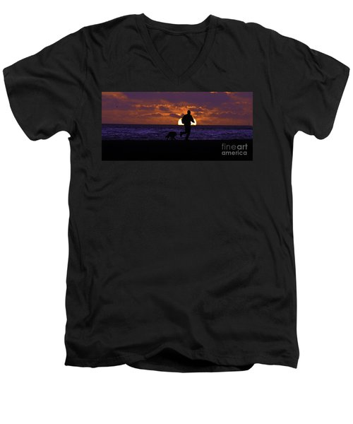 Men's V-Neck T-Shirt featuring the photograph Evening Run On The Beach by Clayton Bruster