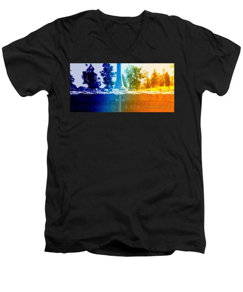 Men's V-Neck T-Shirt featuring the photograph Every Ending by Lisa Brandel