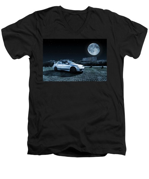 Men's V-Neck T-Shirt featuring the photograph Evo 7 At Night by Steve Purnell