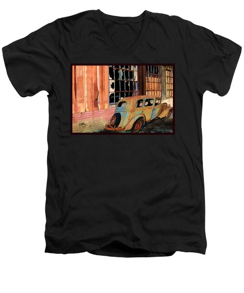 Men's V-Neck T-Shirt featuring the photograph Executive Parking by Larry Bishop