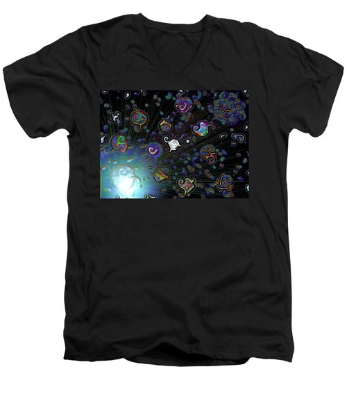 Men's V-Neck T-Shirt featuring the digital art Exploding Star by Alec Drake