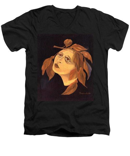 Face In Autumn Leaves Men's V-Neck T-Shirt by Rachel Hershkovitz