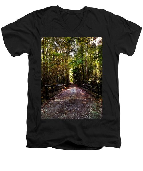 Men's V-Neck T-Shirt featuring the photograph Fall Hiking Trail by Janice Spivey