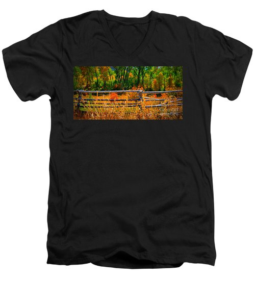 Fall  Men's V-Neck T-Shirt by Janice Westerberg