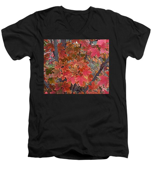 Fall Red Men's V-Neck T-Shirt