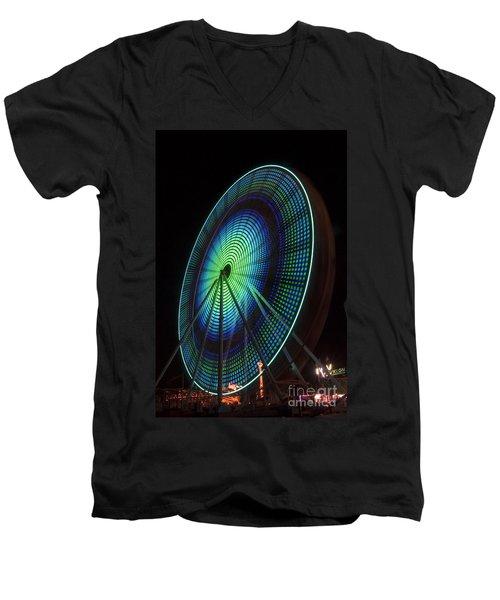 Ferris Wheel Lit Shades Of Green And Blue Men's V-Neck T-Shirt