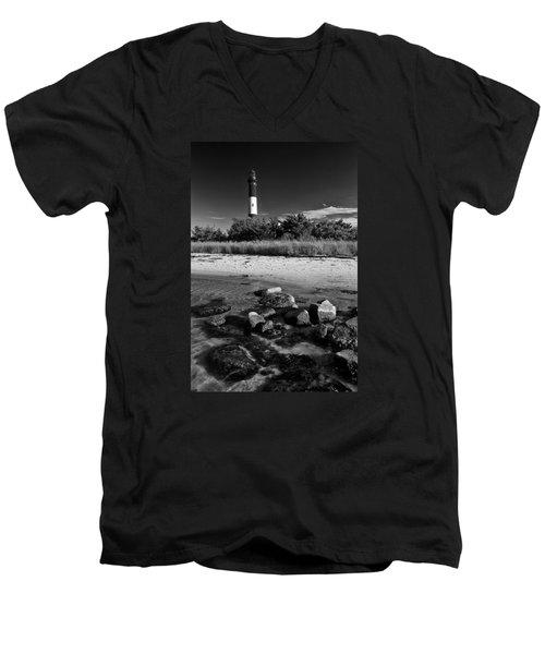 Fire Island In Black And White Men's V-Neck T-Shirt by Rick Berk