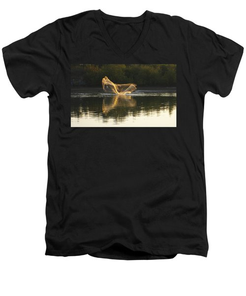 Men's V-Neck T-Shirt featuring the digital art Fisherman Throwing His Net by Anne Mott