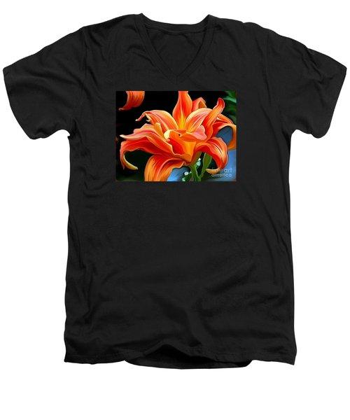 Flaming Flower Men's V-Neck T-Shirt by Patricia Griffin Brett