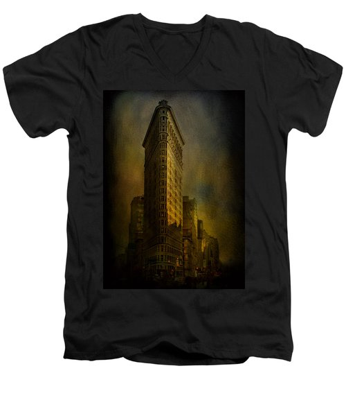 Flatiron Building...my View..revised Men's V-Neck T-Shirt by Jeff Burgess