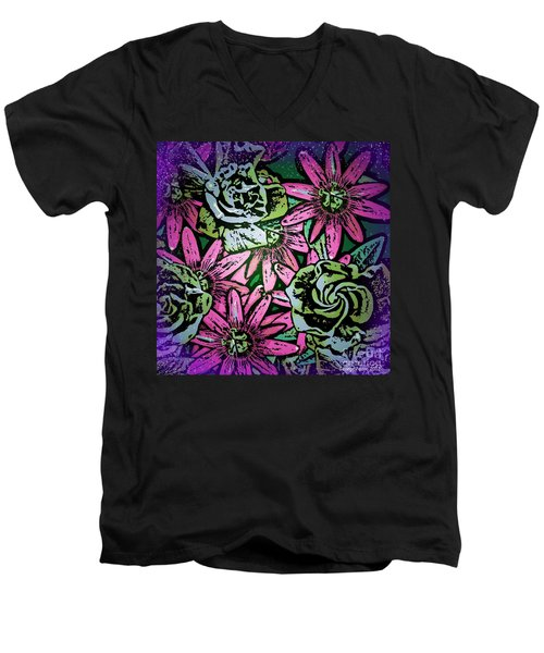 Men's V-Neck T-Shirt featuring the digital art Floral Explosion by George Pedro