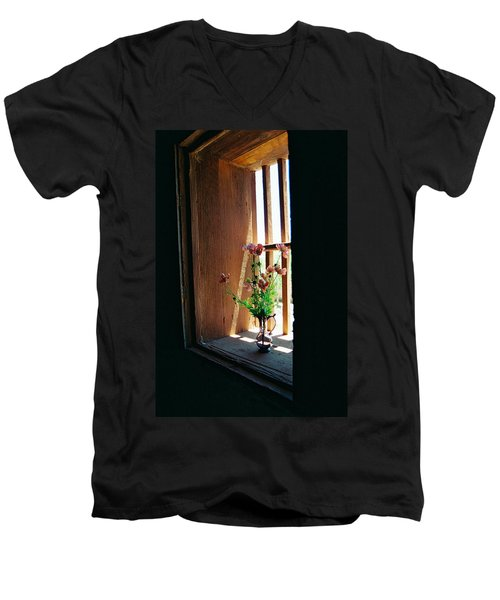 Flower In Window Men's V-Neck T-Shirt