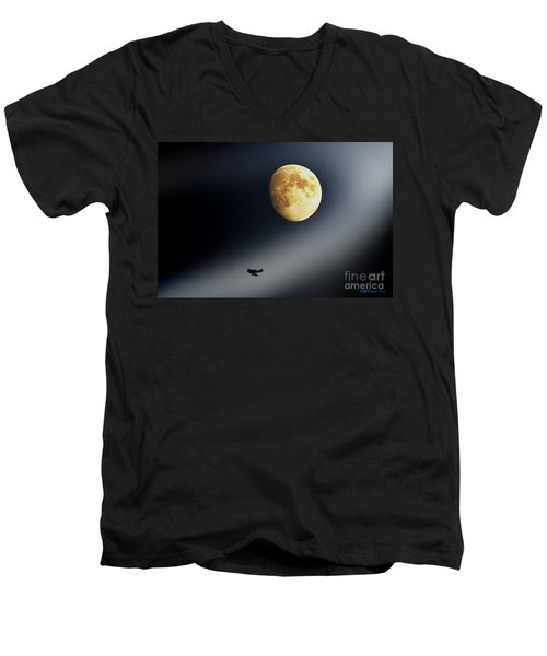 Fly Me To The Moon Men's V-Neck T-Shirt by Kevin J McGraw