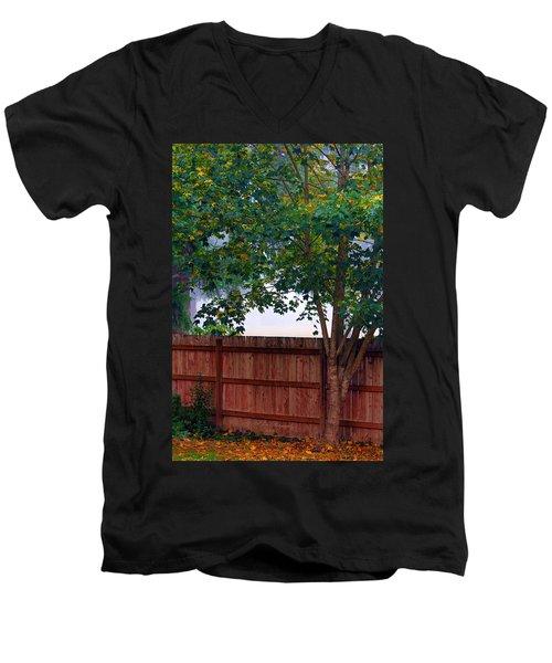 Fog In Olympia Men's V-Neck T-Shirt by Jeanette C Landstrom