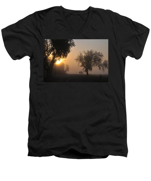 Foggy Morn Street Men's V-Neck T-Shirt