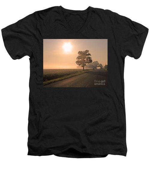 Foggy Sunrise On Soybean Field Men's V-Neck T-Shirt