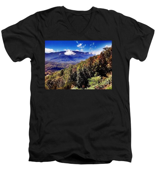 Men's V-Neck T-Shirt featuring the photograph Foothills Parkway Tennessee by Janice Spivey