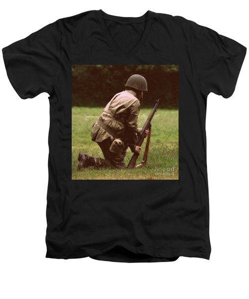 Men's V-Neck T-Shirt featuring the photograph For Freedom by Lydia Holly