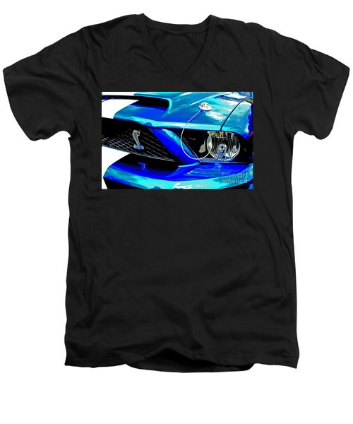 Men's V-Neck T-Shirt featuring the digital art Ford Mustang Cobra by Tony Cooper