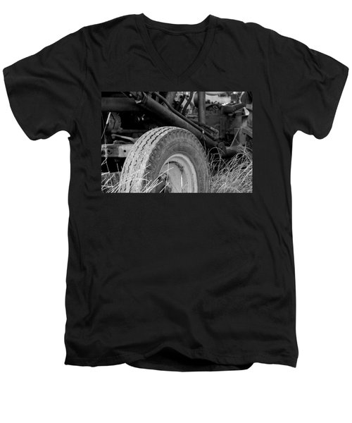 Men's V-Neck T-Shirt featuring the photograph Ford Tractor Details In Black And White by Jennifer Ancker