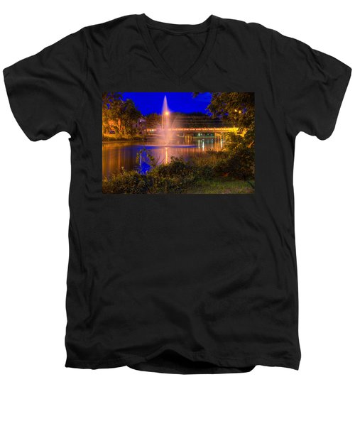 Fountain And Bridge At Night Men's V-Neck T-Shirt