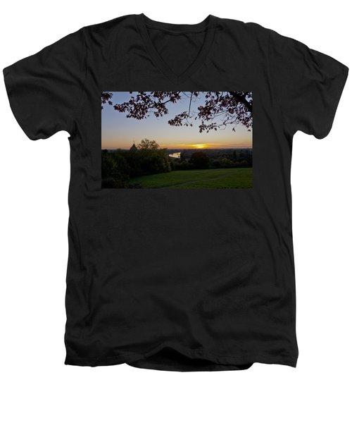 Men's V-Neck T-Shirt featuring the photograph Framed Sunset by Maj Seda