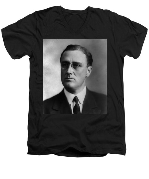 Men's V-Neck T-Shirt featuring the photograph Franklin Delano Roosevelt by International  Images