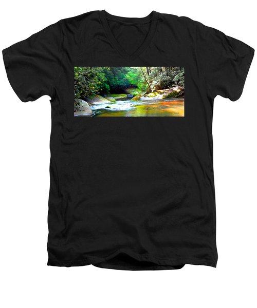 French Broad River Filtered Men's V-Neck T-Shirt