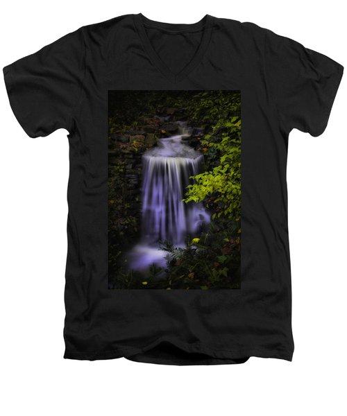 Men's V-Neck T-Shirt featuring the photograph Garden Falls by Lynne Jenkins