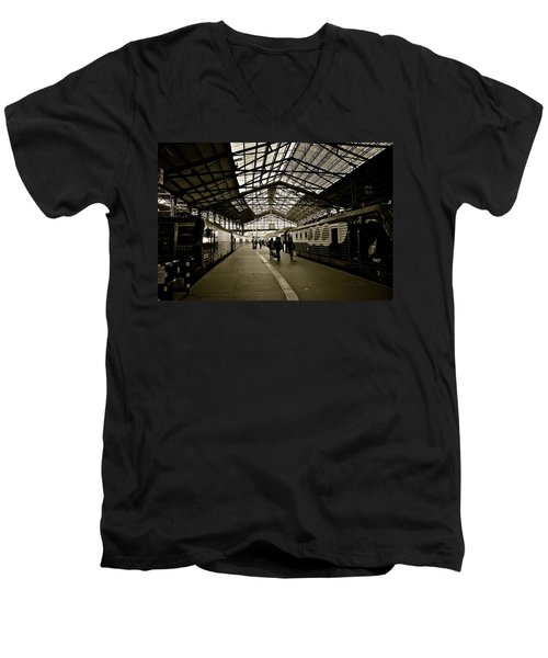 Men's V-Neck T-Shirt featuring the photograph Gare De Saint Lazare by Eric Tressler