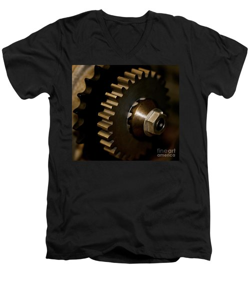 Gears  Men's V-Neck T-Shirt by Wilma  Birdwell