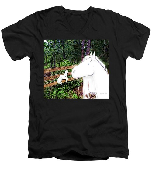 Men's V-Neck T-Shirt featuring the drawing Ghost Horse by George Pedro