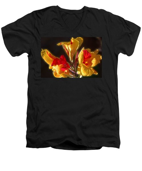 Men's V-Neck T-Shirt featuring the photograph Glowing Iris by DigiArt Diaries by Vicky B Fuller