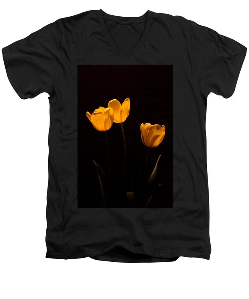 Men's V-Neck T-Shirt featuring the photograph Glowing Tulips by Ed Gleichman