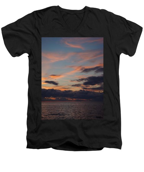Men's V-Neck T-Shirt featuring the photograph God's Evening Painting by Bonfire Photography