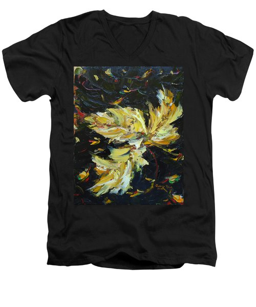 Men's V-Neck T-Shirt featuring the painting Golden Flight by Judith Rhue