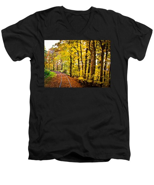 Men's V-Neck T-Shirt featuring the photograph Golden Rails by Sara Frank